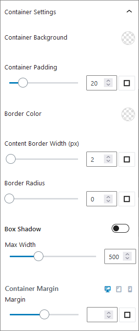 Container Settings